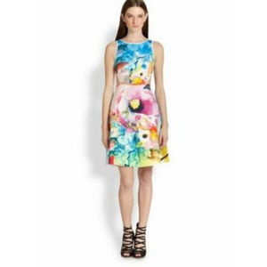 Clover Canyon Dress S Rose Print Cut Out Stretch